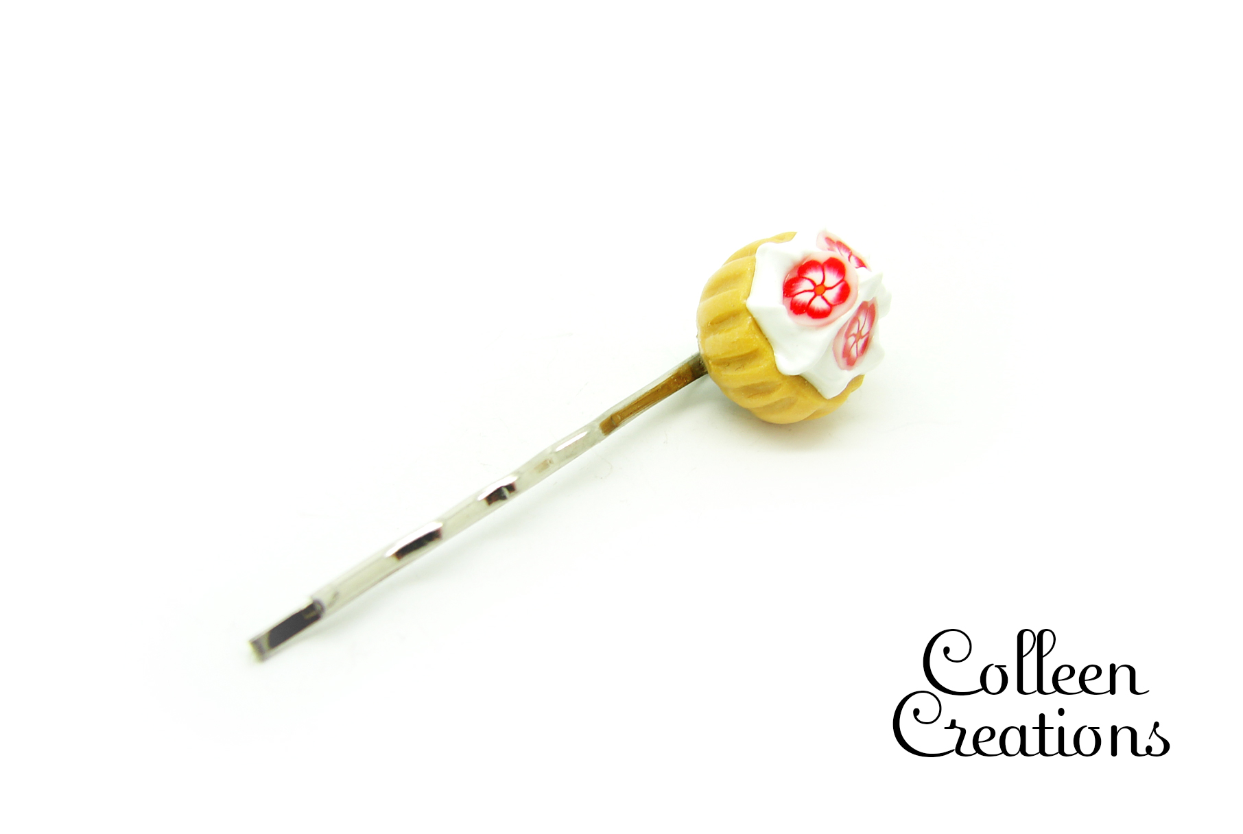 barrette-pince-cupcake-marron-fleurs-roses-2