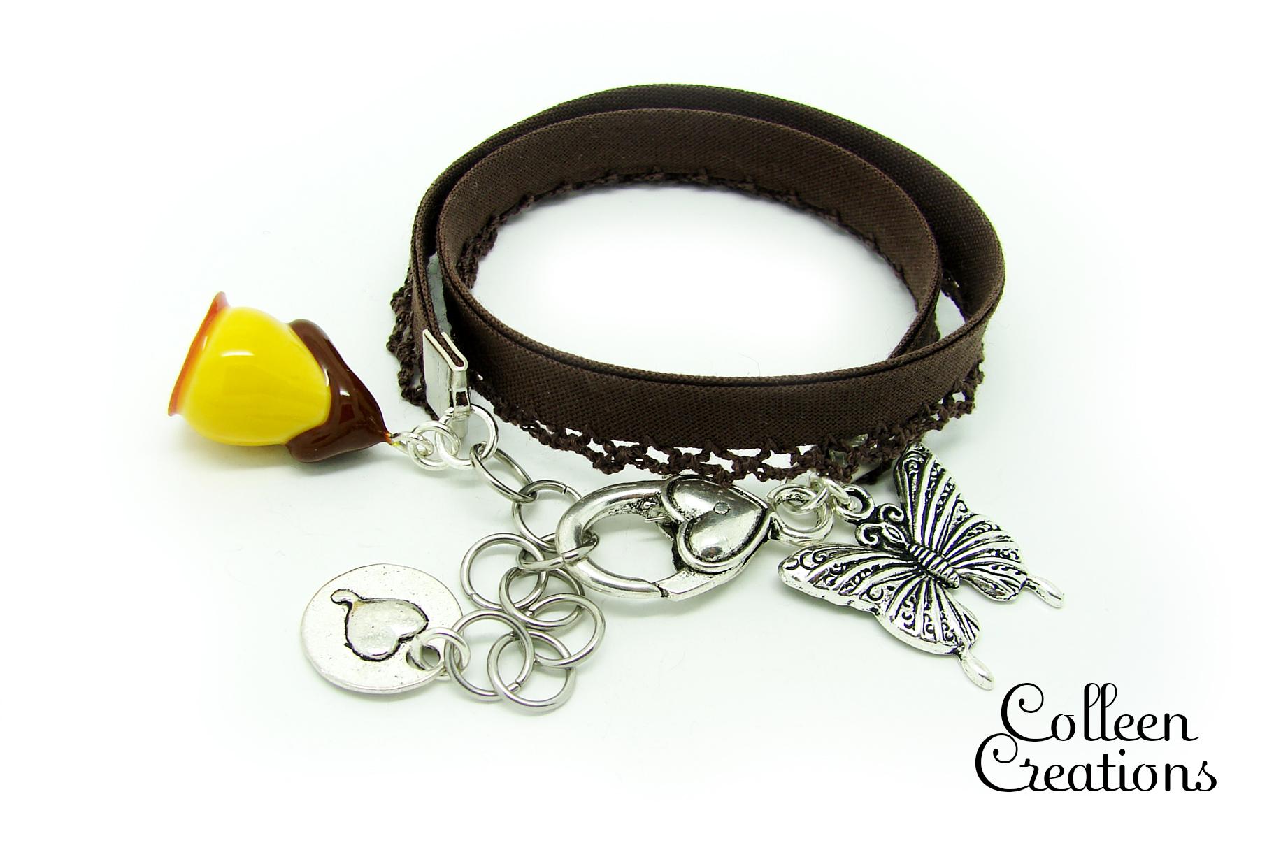 bracelet-ruban-marron-poire
