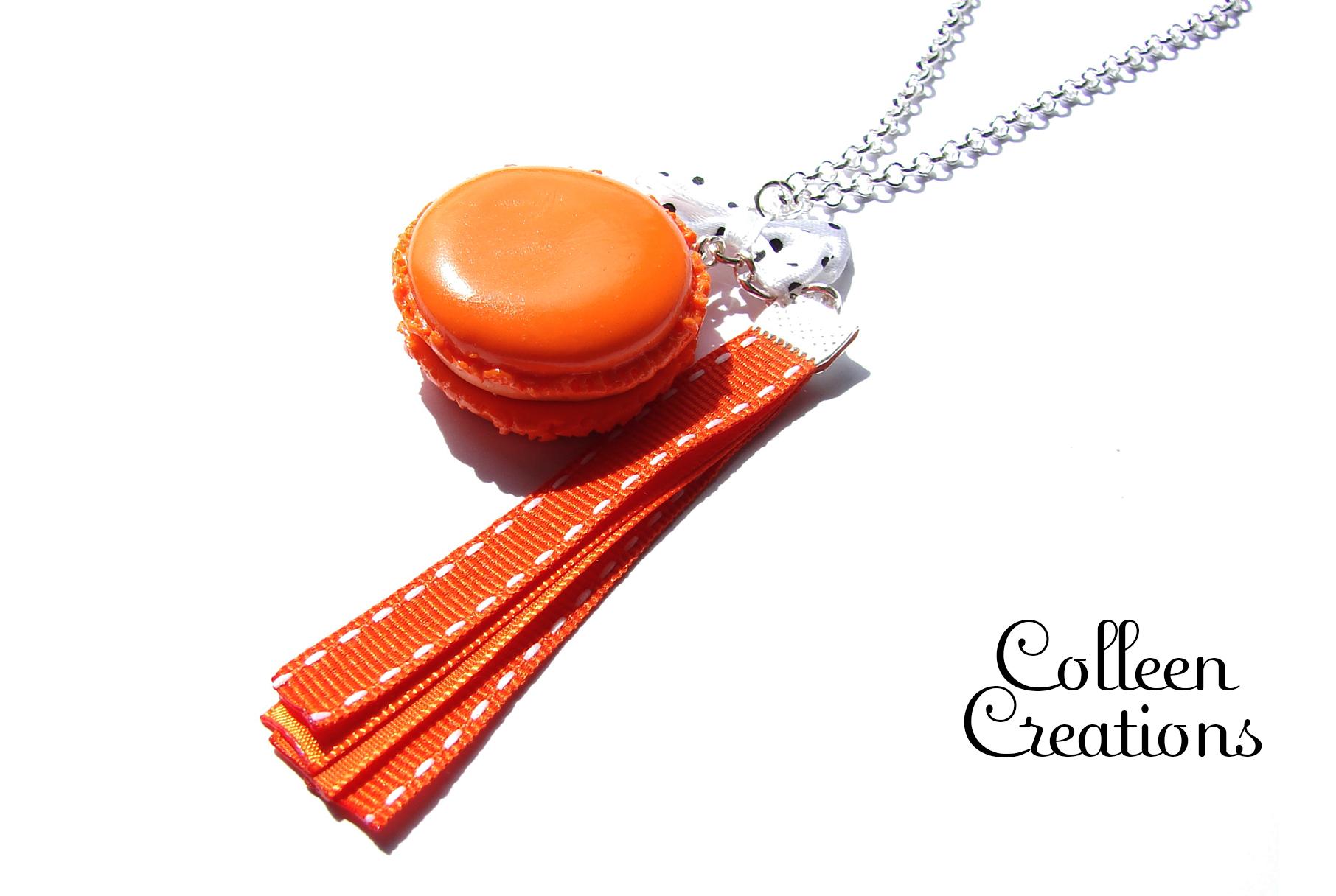 collier-macaron-orange-rubans