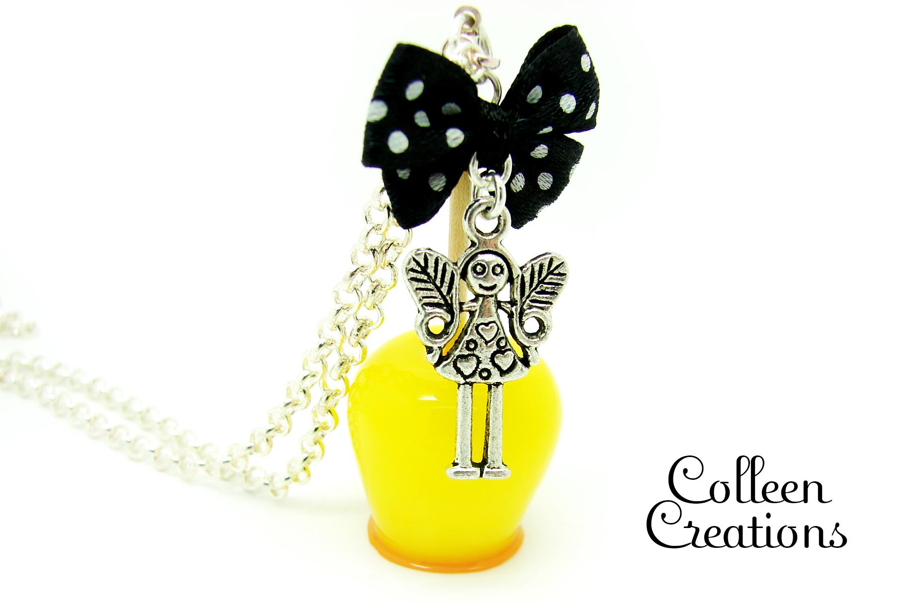 pomme-d-amour-jaune-citron-noeud-petite-fille