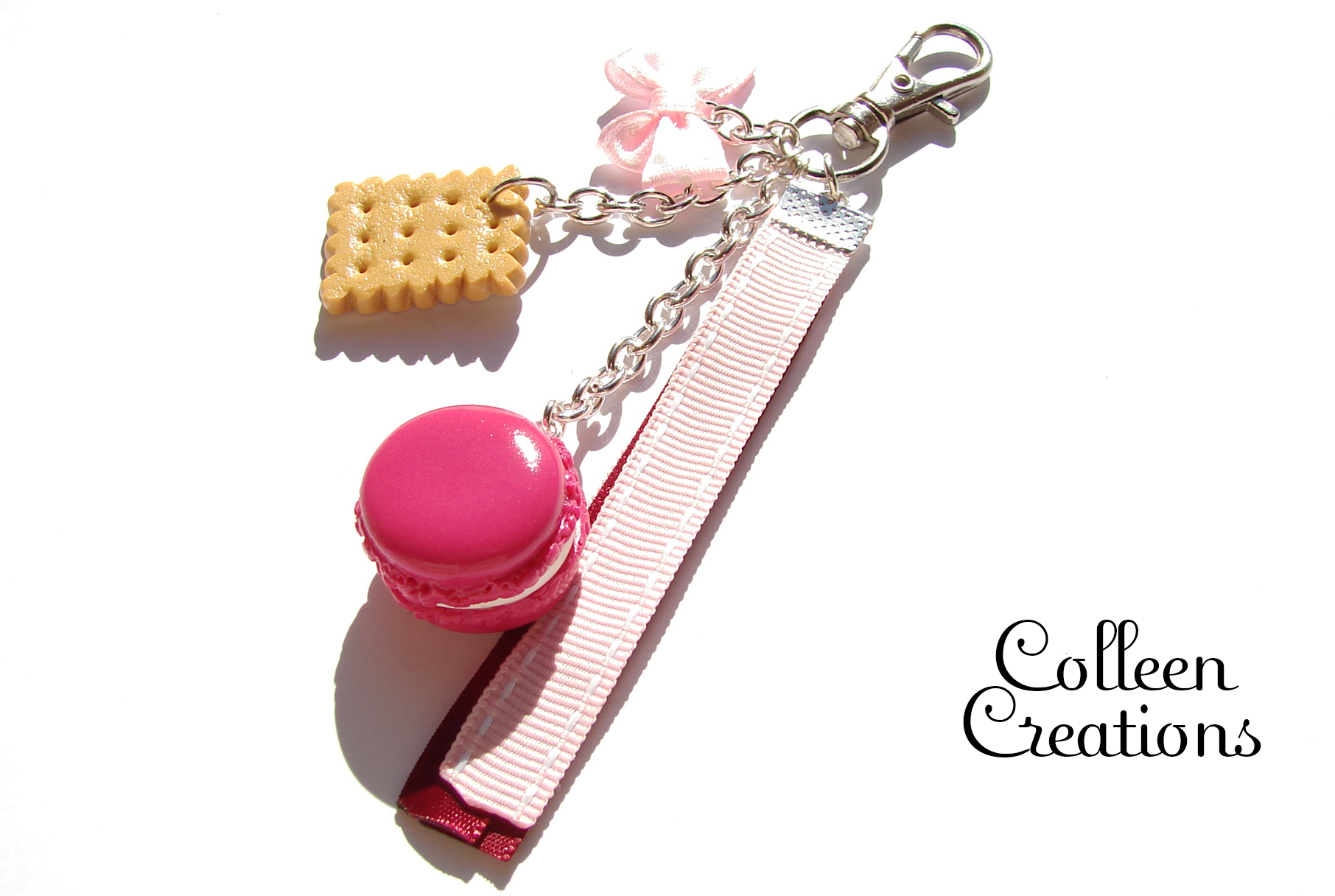 porte-clef-macaron-rose