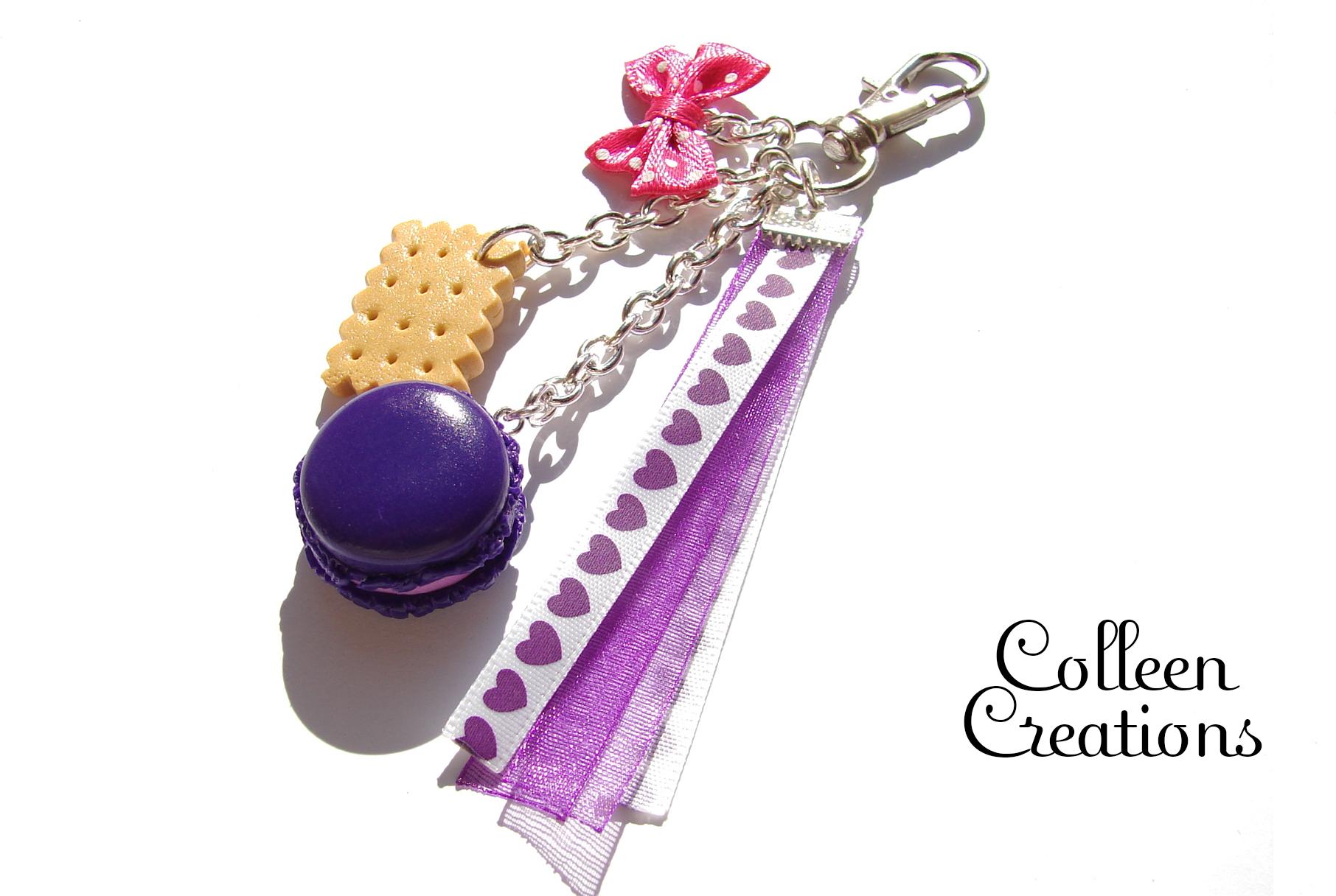 porte-clef-macaron-violet