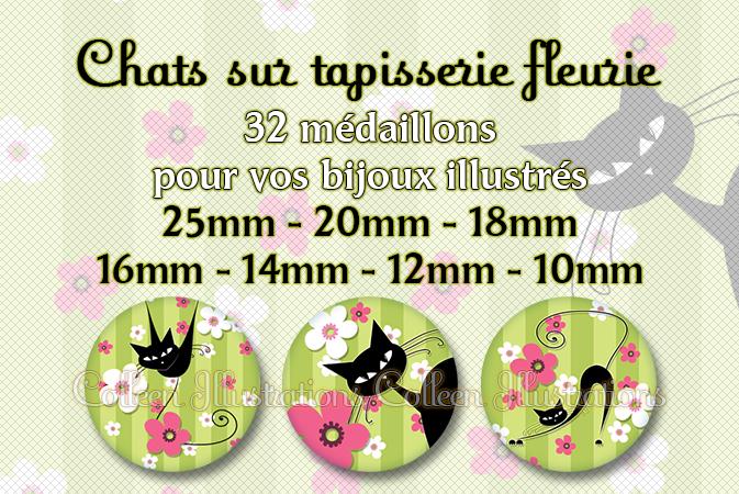 Le chat sur tapisserie fleurie 25mm 20mm 18mm 16mm 14mm 12mm 10mm