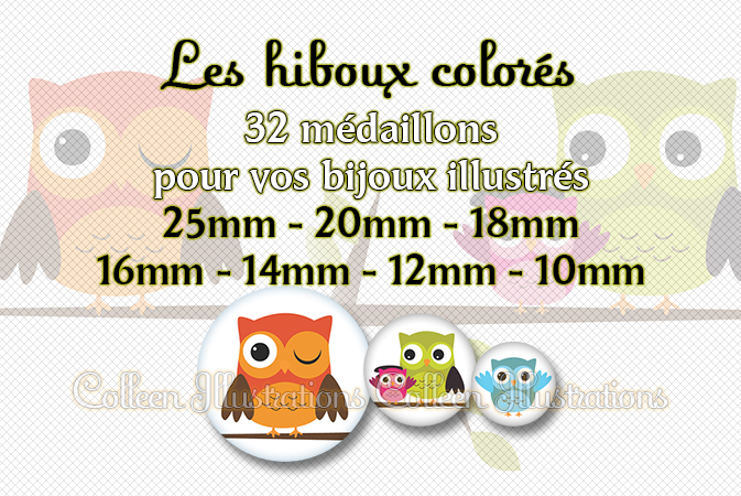 Les hiboux colorés 25mm 20mm 18mm 16mm 14mm 12mm 10mm