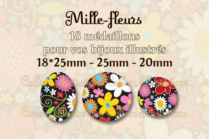 Mille-fleurs 18x25mm 25mm 20mm