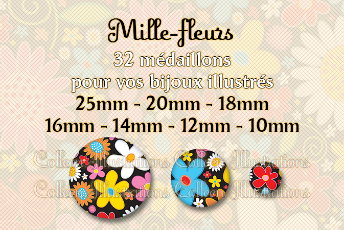 Mille-fleurs 25mm 20mm 18mm 16mm 14mm 12mm 10mm