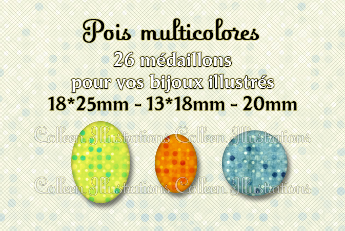 Pois multicolores 18x25mm 13x18mm 20mm