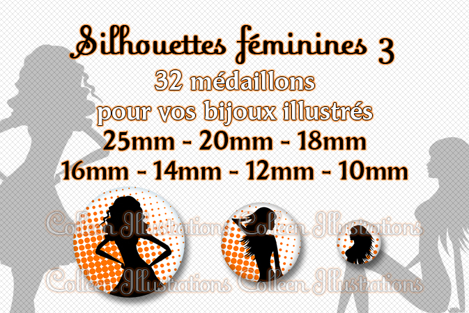 Silhouettes féminines n°3 25mm 20mm 18mm 16mm 14mm 12mm 10mm