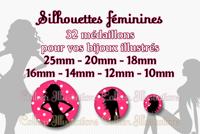 Silhouettes féminines 25mm 20mm 18mm 16mm 14mm 12mm 10mm