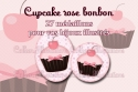 Cupake rose bonbon